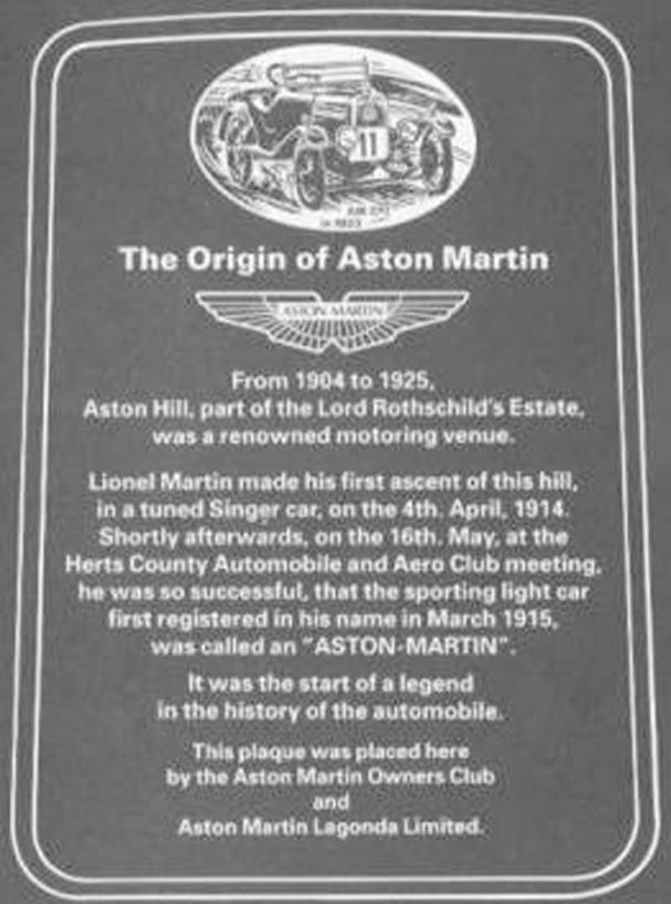 Plaque sur la stèle commémorative inaugurée sur le site d'Aston Hill en Mai 1997